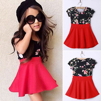 2016 New Kids Girls Dresses Kids Clothes Summer Cele Flower Short Sleeve Splice Red Dress<br><br>Aliexpress