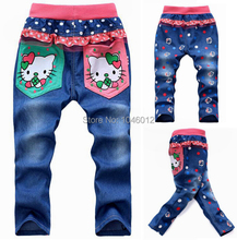 2015  Free shipping korean children's clothing hello kitty girls jeans for kids wholesale and retail