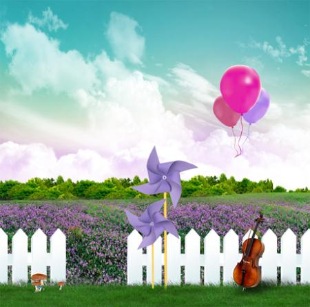 photography backgrounds 200cm*150cm valentine day Windmill lavender balloons CM15-S-482(China (Mainland))