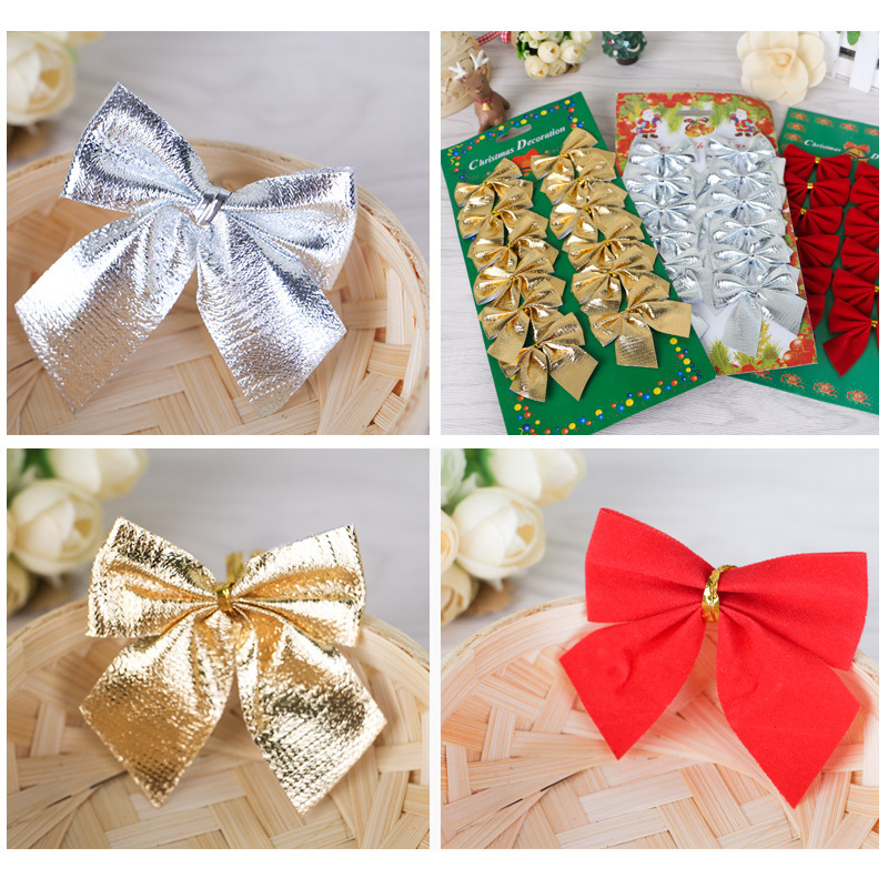 12 Pcs Christmas Decoration Christmas Tree Red Gold Silver Bow Hanging Ornament New Tree Decoration Supplies For Christmas Party(China (Mainland))