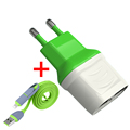 EU Plug Travel Wall Adapter USB 2 Ports USB Charger 2in1 USB Cable Charging For Samsung