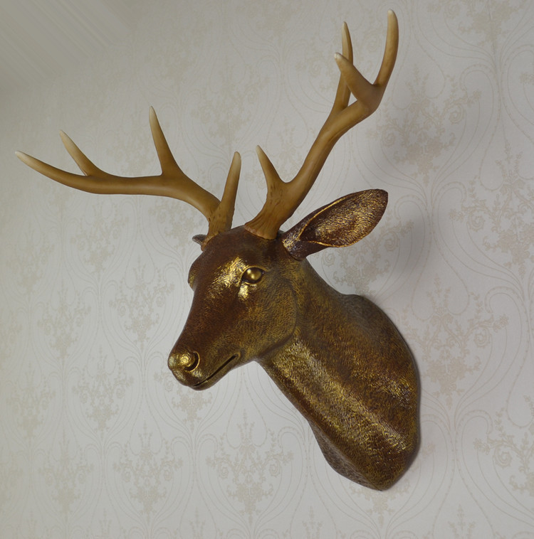 wall mounted brown buck bust whitetail deer head trophy wall art plaque hunt sculpture-faux taxidermy modern hanging home decor(China (Mainland))