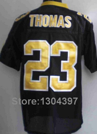 Top Quality New Orleans 23 Pierre Thomas Jersey Authentic Embroidery Elite American Men Football Jerseys black white(China (Mainland))