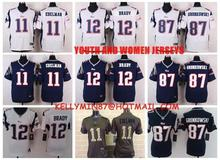 100% Stitiched,New England Patriots,Tom Brady,Rob Gronkowski,Julian Edelman for youth,KIDS,women(China (Mainland))
