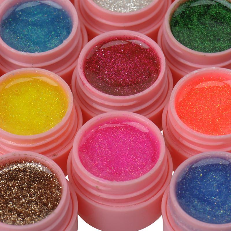 New 36 Pcs Solid Glitter Mix Color Gel Acrylic Set UV Builder Nail Art Decor