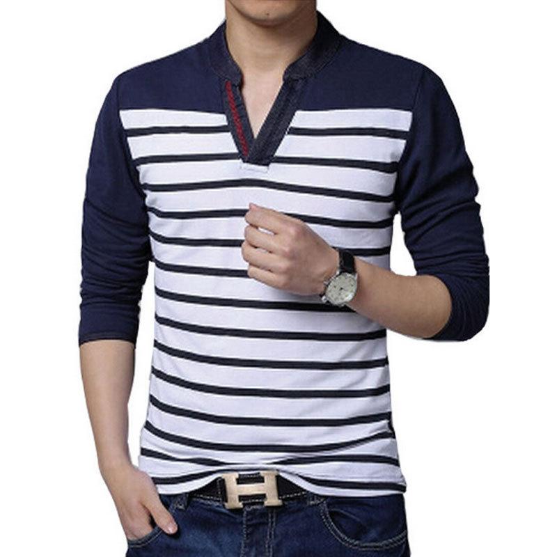 New Fashion brand mens Stripe V-neck Long sleeve t- shirt casual cotton slim t shirts 2015 tops Men tshirt homme Clothing 4XL5XL(China (Mainland))