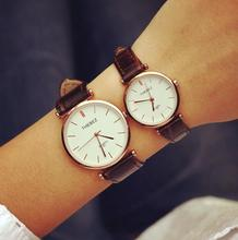 Buy Luxury Business Rose Gold Silver Genuine Leather Dress Quartz Wrist Watch Hours Clock Men Women Round Dial for $13.70 in AliExpress store