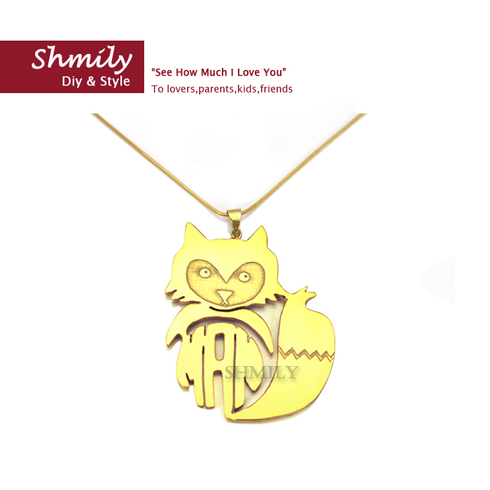 dainty handmade animal necklace sterling silver monogram gold plating custom fox nameplate perfect gift - Imeety Personalized Jewelry store