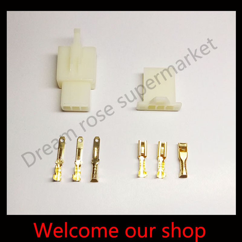 100 Sets X 3Pin wire terminals 2.8 connector male female male female plugs For Scooter Moped Electric Bike Ebike free shipping<br><br>Aliexpress