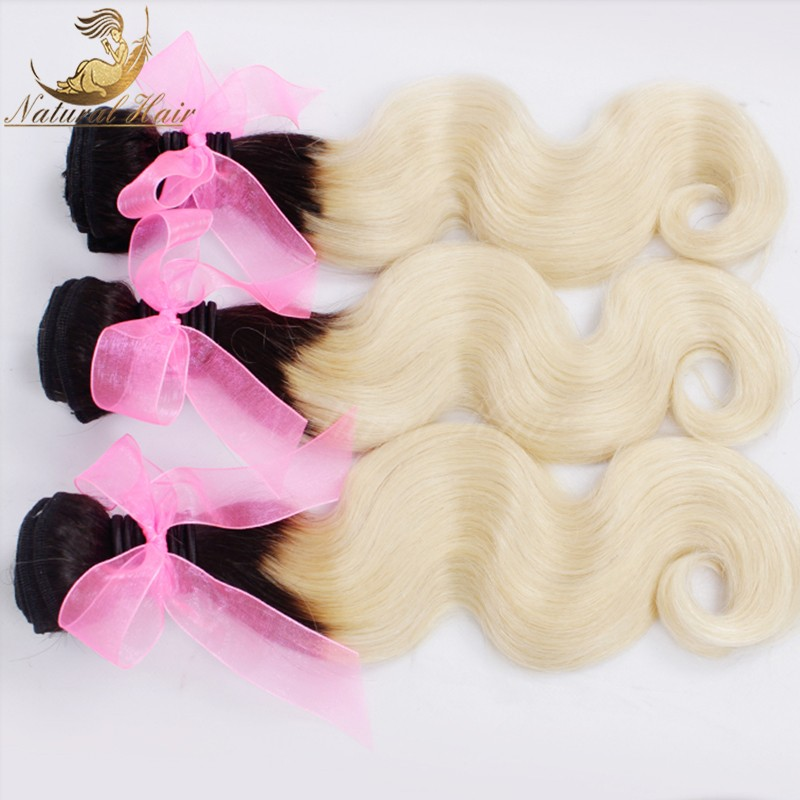 7A 1b/613 13X4 Body wave lace frontal closure with 3 bundles human hair wave Blonde virgin hair weaves with frontal 4 pcs lot