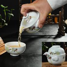 Blue and white porcelain Quik a pot of a cup of portable personal travel ceramic tea pot and cup special Kung Fu Tea