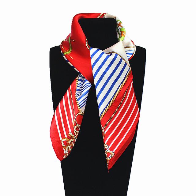 60 см * 60 см Женщины 2016 Новая Мода Имитационные Шелковый Капитан Плед Корабль Якорной Цепи Печатной Офисной Леди Площадь шарф Горячей Продажи