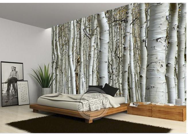 Wall sticker wallpaper white birch trees wallpaper mural for Birch wall mural
