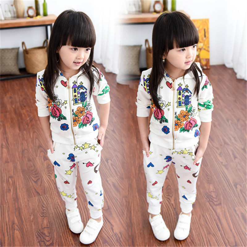 Promotion Coat Geometric Children Clothing 2016 New Girls Clothes Kids Girl's Sports Cartoon Suit T069(China (Mainland))