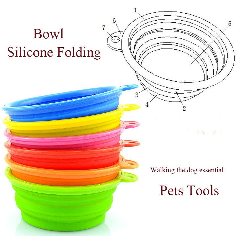 2pcs/lot Dog Cat Fashion Silicone Collapsible Feeding Water Feeder Bowl Pet Supplies Travel Dish Folding Dog Bowl(China (Mainland))