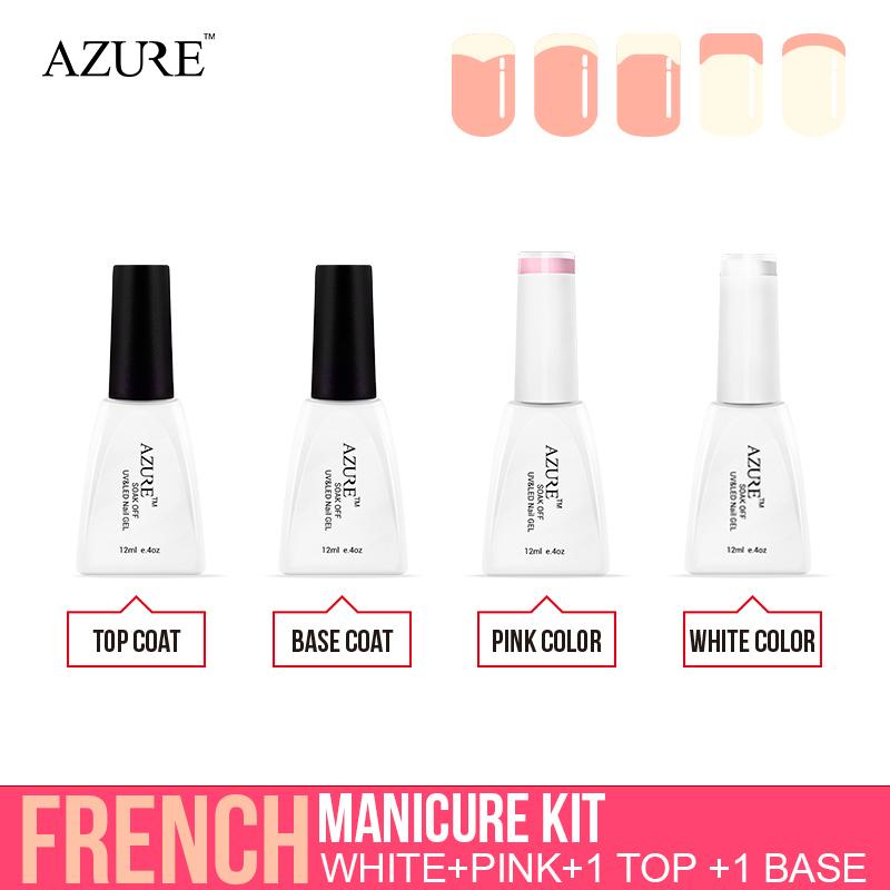 White Manicured Nails Azure Nail Polish White