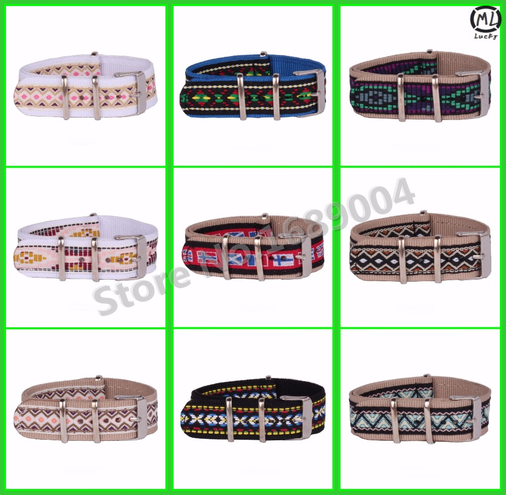 10 pcs/lot Woven watchband 20MM Stripe Flag Cambo watch Strap Vintage nato fabric Nylon Watch  Bands Buckle belt 20 mm<br><br>Aliexpress