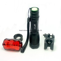 UltraFire XM-L T6 2000LM Zoomable Flashlight 18650 Torch Bicycle light AAA Lantern Cycling 5 Modes+5LED Rear light +Bike Holder