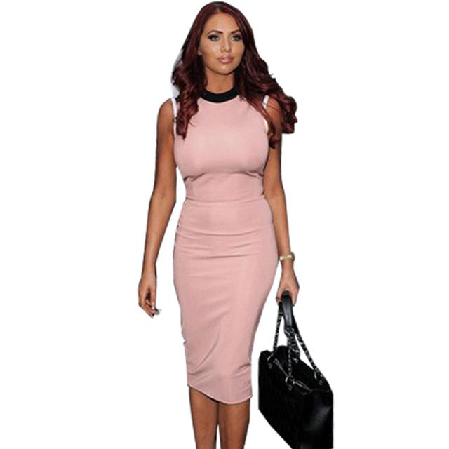 2015 Повседневный Young Облегает Slimming dress Sexy Женщины Сплошной Розовый summer ...