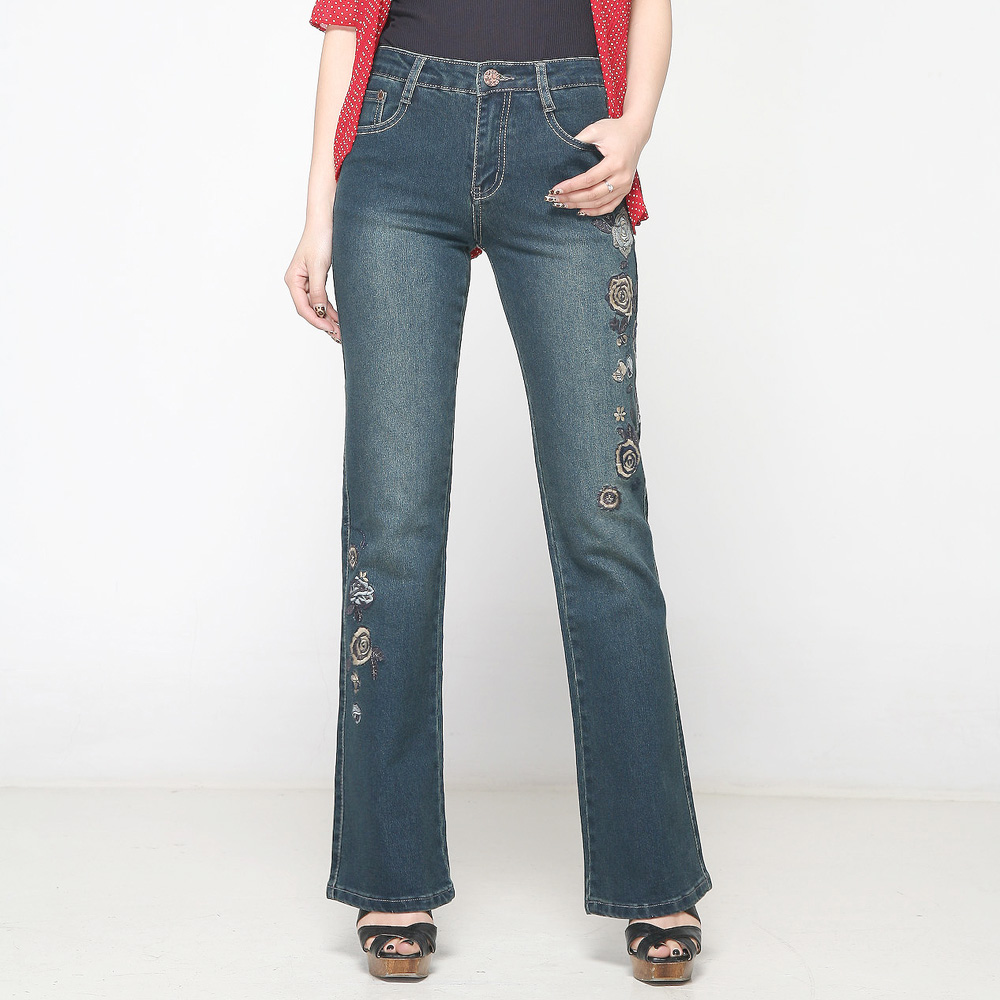 Slim high waist elastic women s bell bottom jeans