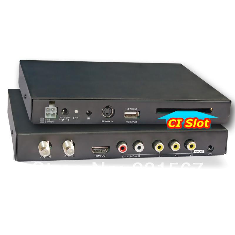 Factory price Car DVB T Digital MPEG4, H.264, 2 tuner 250km/h car HD TV CI CAM CA for conax viaccess irdeto(China (Mainland))