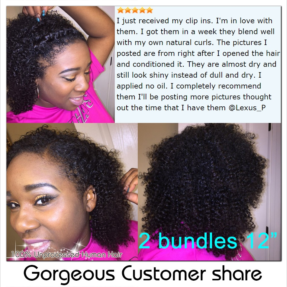 African American Afro Kinky Curly Clip in Human Hair extension 4b 4c natural remy brazilian virgin hair clip in weave extension