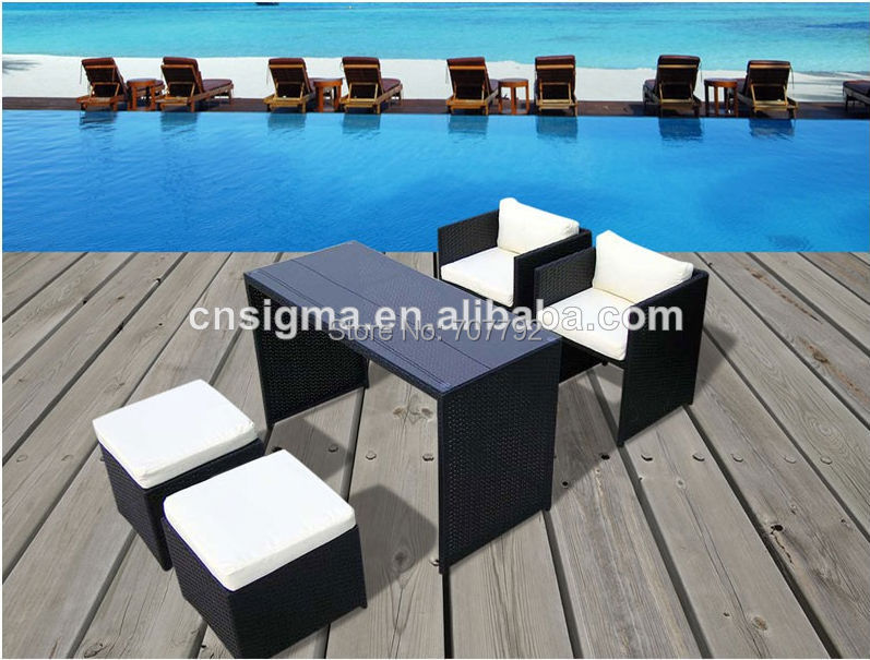 En osier table de jardin et chaises promotion achetez des for Table exterieur osier