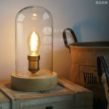 The Nordic decoration creative fashion American bedroom bedside lamp Wood and glass retro lamp