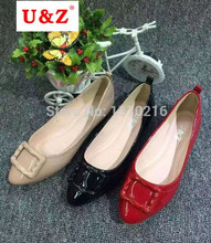 New 2016 fashion Pregnant Women Shoes Work Shoes Flats(Red/Black/Beige)Loafers Slip On Flat Shoes Square buckle boat shoes(China (Mainland))