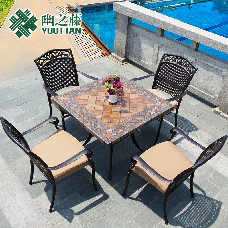 Teng quiet cast iron outdoor furniture indoor and outdoor leisure terrace furniture Wujiantao combination coffee table and chair(China (Mainland))