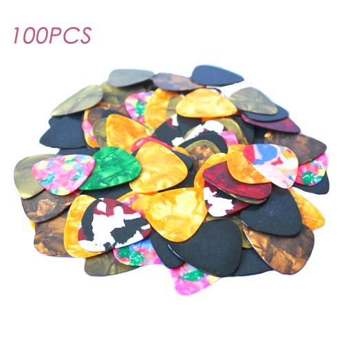 Wholesale 100pcs Celluloid Picks Acoustic Electric Guitar Picks Plectrums Assorted Free Shipping(China (Mainland))