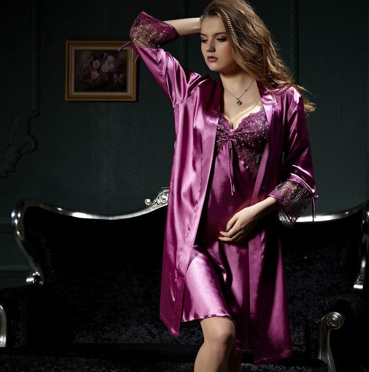 Two-piece Emulation silk nightgown women long sleeve nightwear suit sexy V neck nightdress lace silk satin sleepwear 8205(China (Mainland))