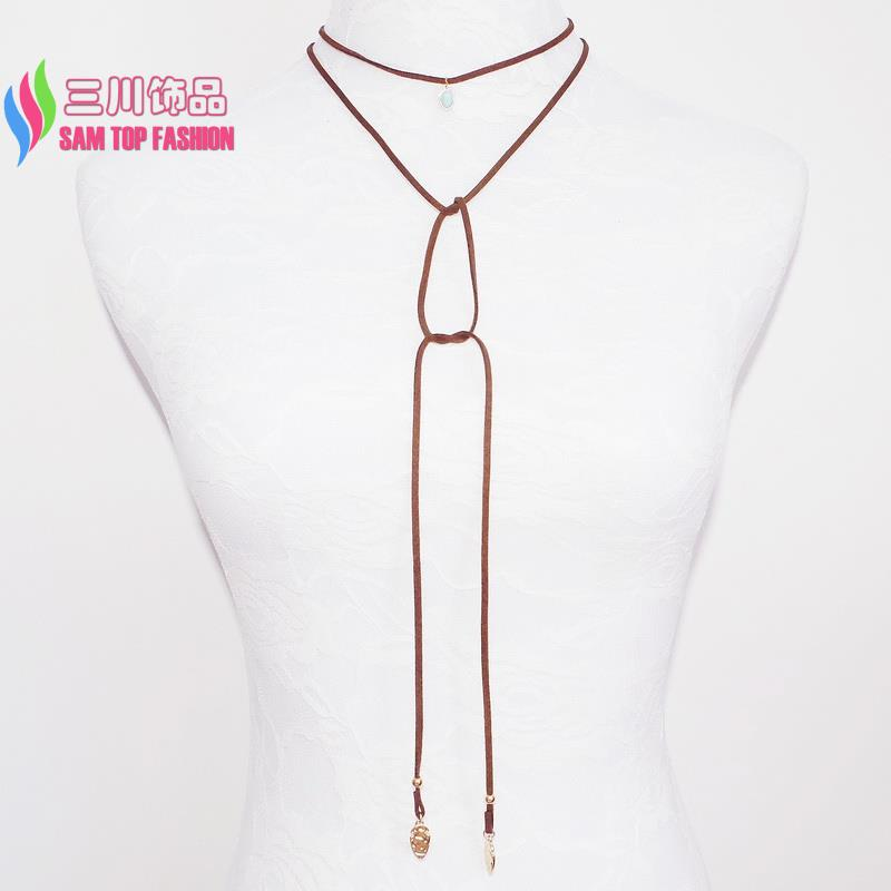 2016 new arrival Fashion retro Long Brown PU Leather Rope Faux Stone Metal Leaf Charms Pendant DIY choker Necklace collar Bijoux(China (Mainland))
