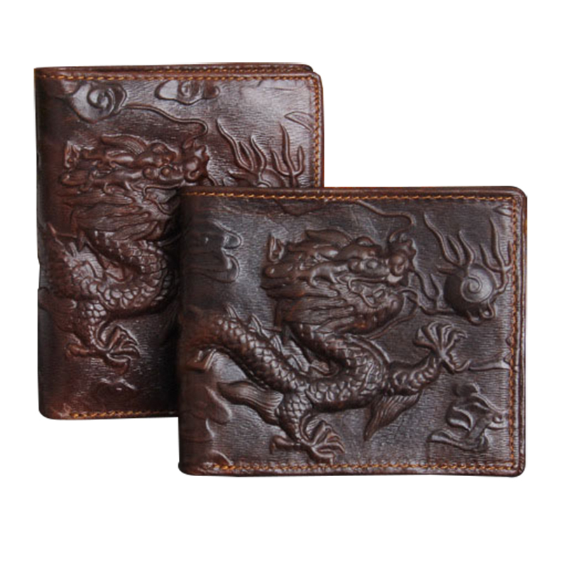 Genuine leather Men Wallet Dragon Pattern High Quality Purse Male Fashion Style Dark Brown Imported wallets Free Shipping(China (Mainland))