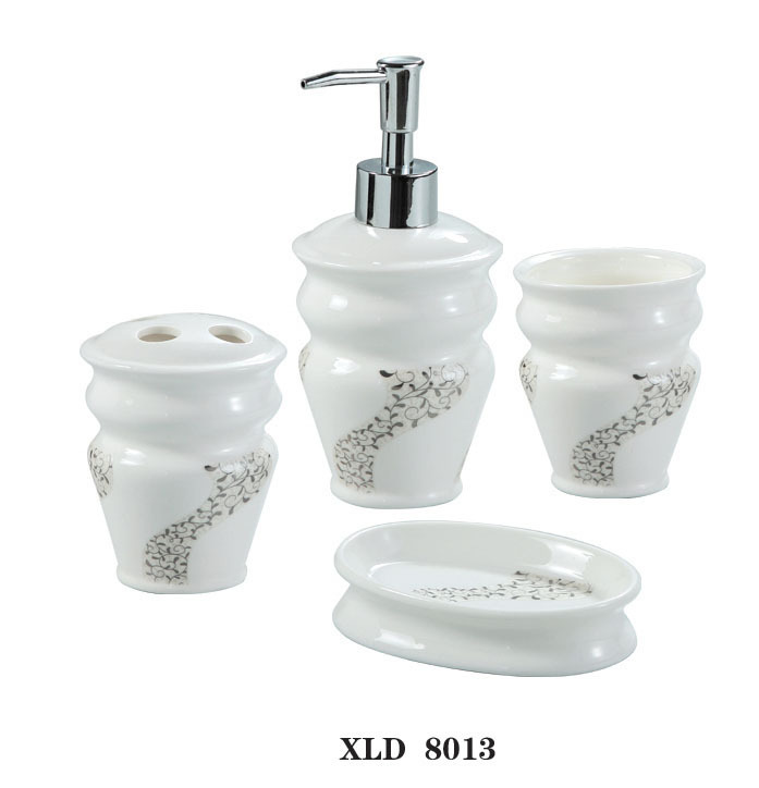 Xld8013 white ceramic bathroom accessory set soap dish dispenser tumbler toothbrush holder in - Bathroom soap dish sets ...