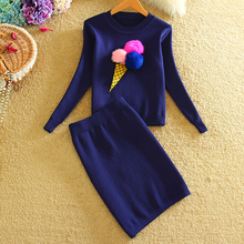 Buy Two Piece Set Sweater Skirt Top 2017 Autumn Fashion Women Tracksuit Set Long Sleeve Knitted Suits Ladies Red Blue Black for $26.39 in AliExpress store
