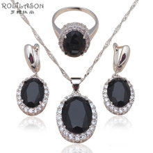New come Zirconia Silver stamp Earring Necklace rings Fashion Jewelry Set Black AAA cz diamond Health JS584(China (Mainland))