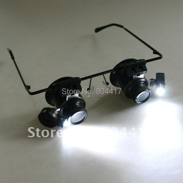 Promotion!!! 2015 New Fashion 1Pcs 20X Magnifier Magnifying Eye Glasses Loupe Lens Jeweler Watch Repair +LED Light(China (Mainland))