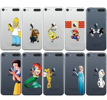New Snow White Ariel Tinkerbell Mickey Minnie Mouse Spongebob Olaf Minion Clear Plastic Case for iPod Touch 5 6(China (Mainland))