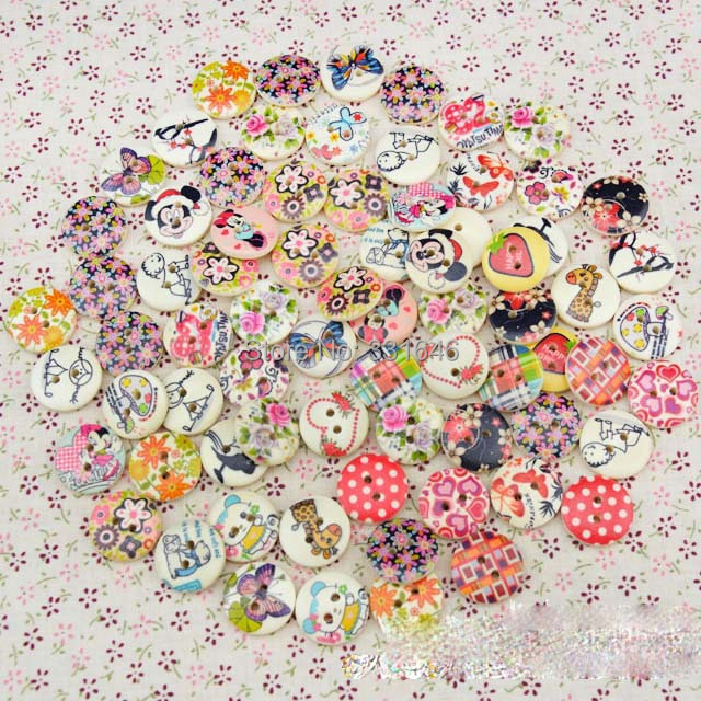 NEW 18MM 25 Designs mixed Round Buttons Cartoon Printed Wood Button for Baby Diy Garment Accessories Child Cloth,100pcs/lot(China (Mainland))