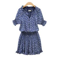 Fashion Summer Popular Women Dresses Lady Mandarin Collar V-Neck Casual Short Sleeve Print Dress Blouses S-2XL(China (Mainland))