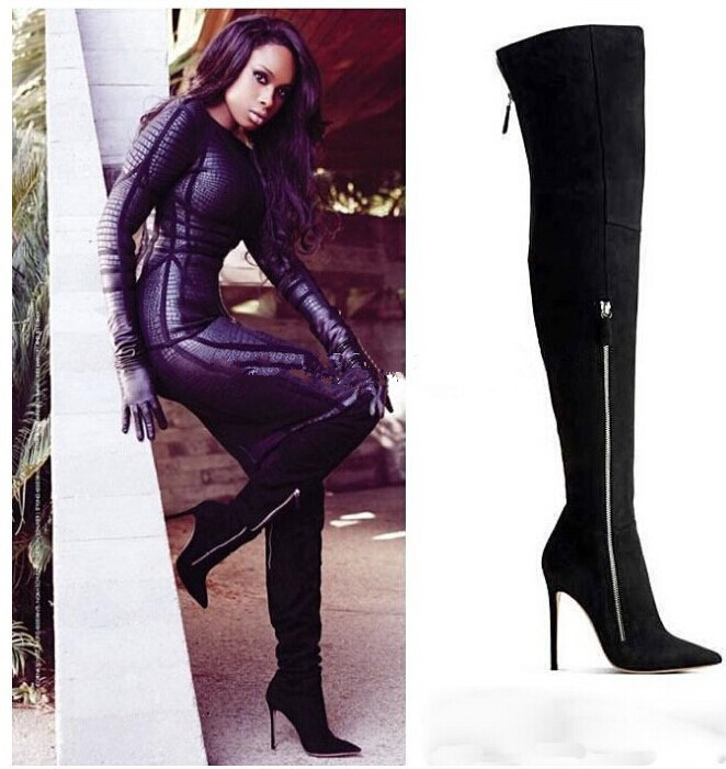 2015 Black/Beige Knee High Boots Consice Sexy High Heels Botas Zipper Fashion Women Motorcycle Boots In Stock Shoes Woman <br><br>Aliexpress