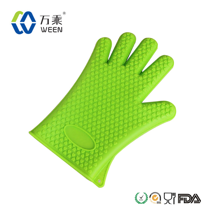 Silica gel microwave ovens insulated gloves fingers burn proof gloves oven high temperature insulation anti scald sleeve(China (Mainland))