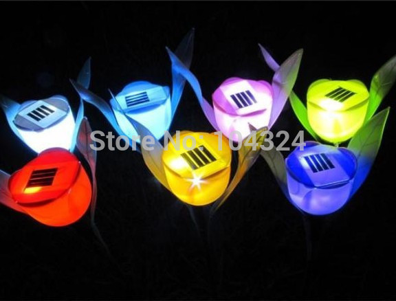 4pcs/lot Outdoor Yard Garden Path Way Solar Power LED Tulip Landscape Flower Lamp Lighting
