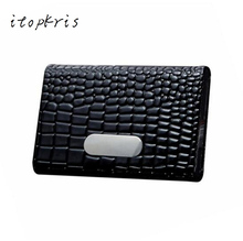 Buy Luxury Brand Business Women Credit Card Holder Case Aluminum PU Leather Alligator ID Name Card Box Men for $4.15 in AliExpress store