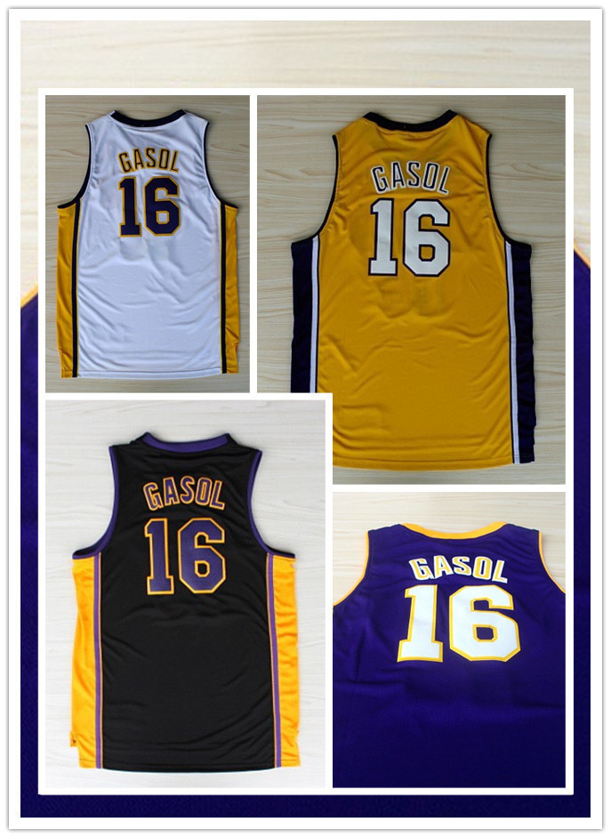 2013 New Fashion #16 Paul Gasol white yellow purple REV 30 Brand Basketball jersey Embroidery logos(China (Mainland))