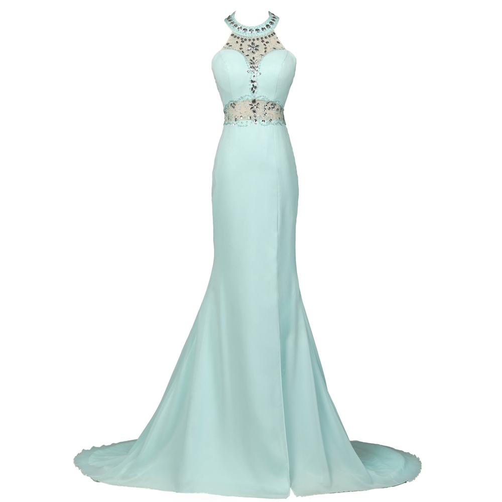 Prom Dresses 2016 Fast Shipping High Neck Chiffon Ombre Dress Galajurken Grace Karin Sexy Long Light Blue Mermaid Prom Dress(China (Mainland))