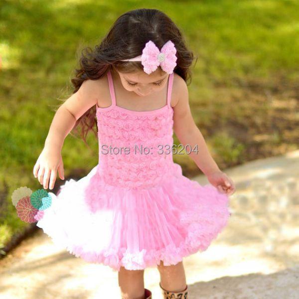 SALE Sunshine Sweetie Rosette Ruffles Dress,Birthday Special Occasions Photo Prop Dress up Rosette Ballerina Dress for Girls(China (Mainland))