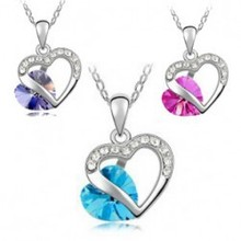 2014 New Wholesale fashion jewelry Platinum Plated Austria crystal  heart-shaped link Chain pendant necklace for women