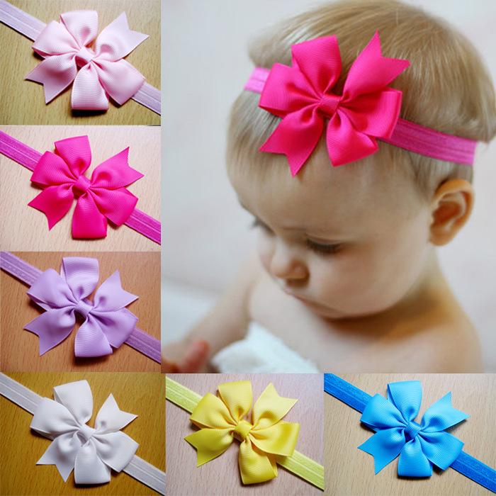 Lovely Baby Girls Pinwheel Bow Headband Solid Ribbon Bow Headbands Cute Kids Hair Accessories Small Hair Bows Head Band(China (Mainland))